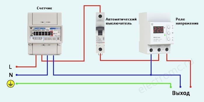 Однофазная схема подключения реле контроля напряжения