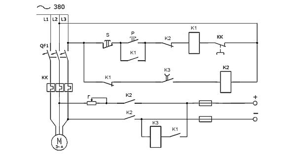 На странице представлена схема динамического торможения асинхронного электродвигателя
