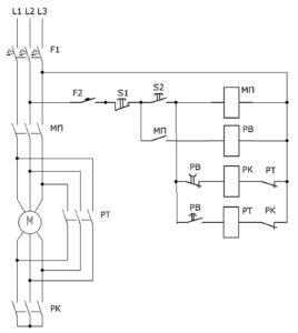 Схема переключения со звезды на треугольник обмотки электродвигателя
